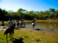 river crossing on horse Fazenda Santa Clara, Mato Grosso do Sul (MS), Brazil, South America