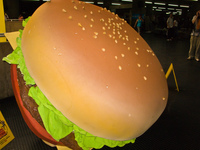 giant hamburger at metro station da se Sao Paulo, Sao Paulo State, Brazil, South America