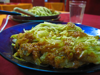 food--pasta at corumba Santa Cruz, Corumba, Santa Cruz Department, Mato Grosso do Sul (MS), Bolivia, Brazil, South America