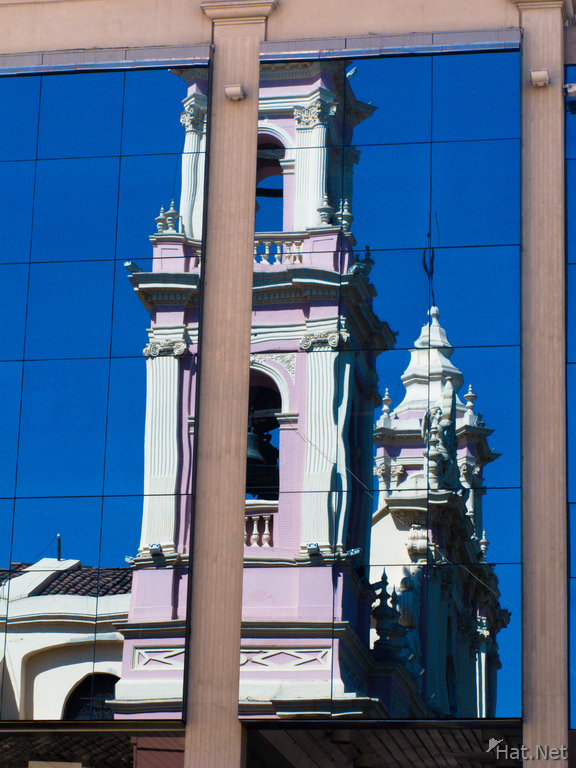 reflection of church tower