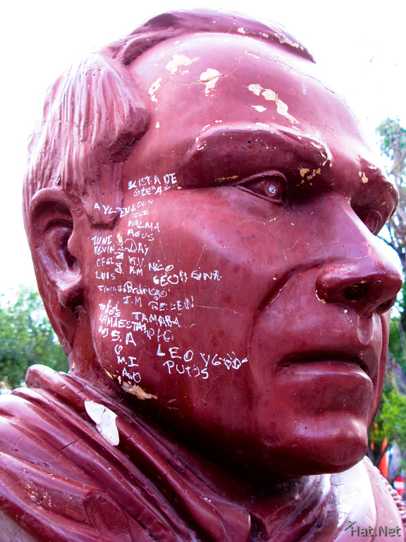 view--writing on face