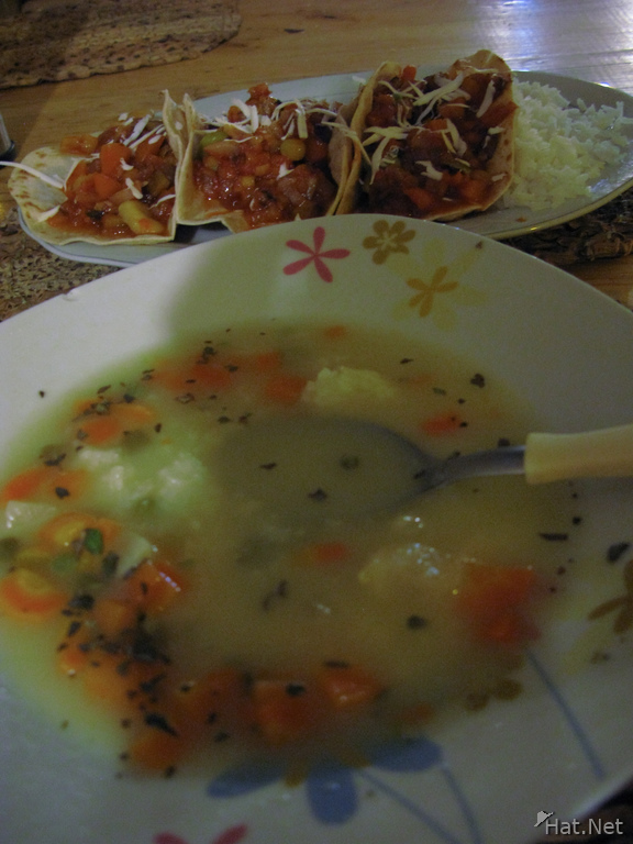 food--vegetarian soup and mexican food
