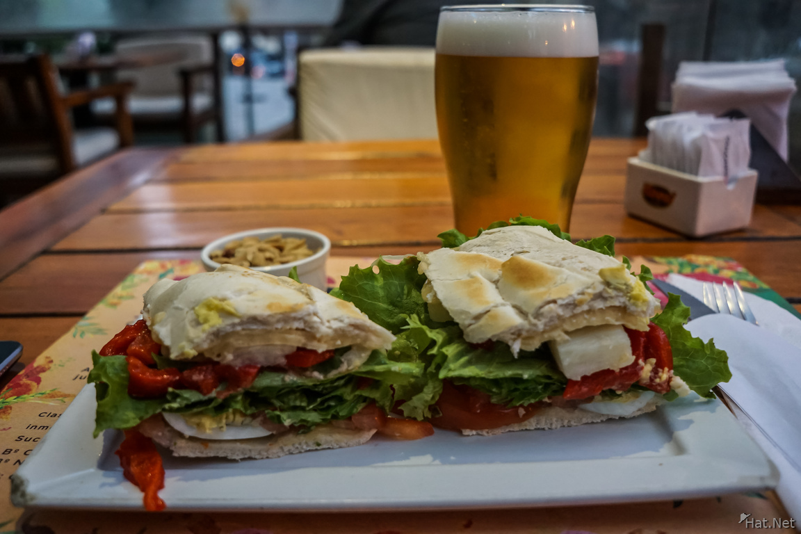 Food--beer and sandwich at Colores Santos