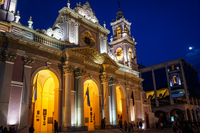 Salta Cathedral at night from front Salta,  Salta,  Argentina, South America