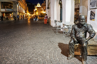 night photo of a statue Salta,  Salta,  Argentina, South America