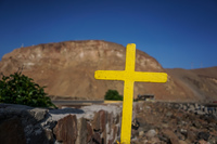 Yellow cross of El Morro Arica,  Región de Arica y Parinacota,  Chile, South America
