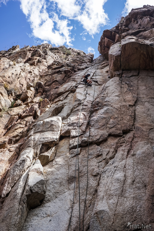 Rappel from high cliff