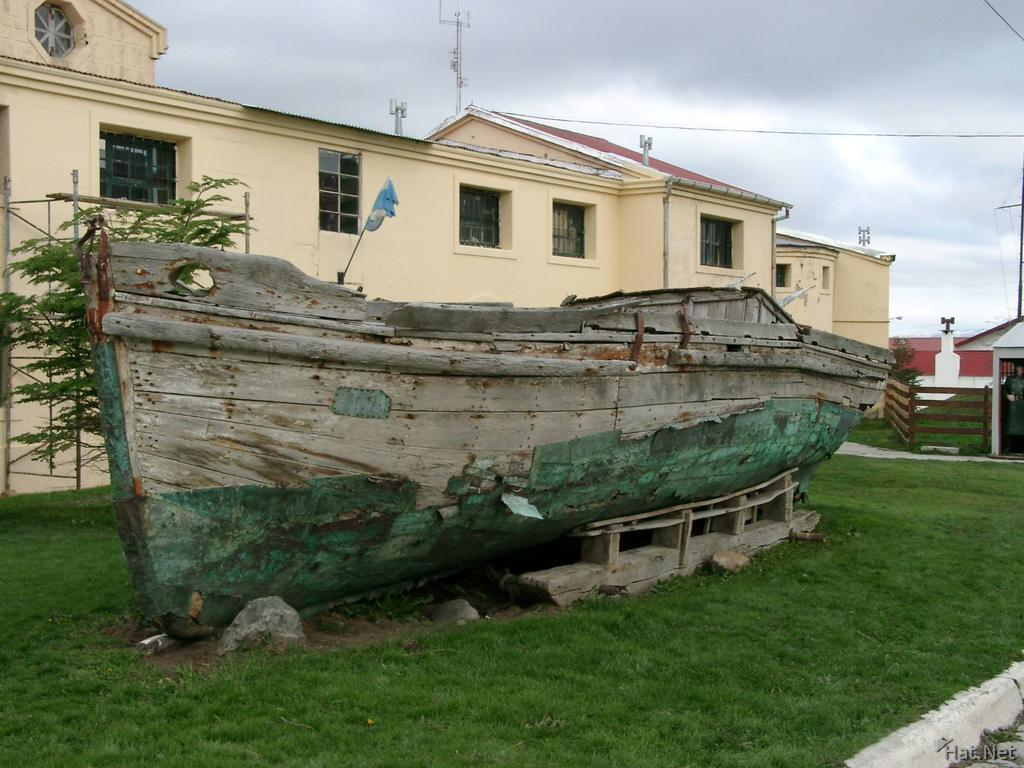 broken boat outside the museum